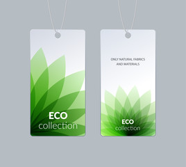 Labels, tags design for sale, clothes alcohol wine bottle food. Cardboard price with green eco colourful flower shape