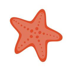 Red starfish in flat style. Starfish icon. Sea star. Vector illustration