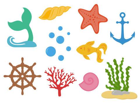 Underwater. Under the sea - mermaid tail, starfish, seashells, gold fish, coral, seaweed, handwheel, anchor, bubbles. Sea life. Marine animals. Vector illustration isolated on white background.