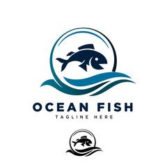 Ocean fish fly logo