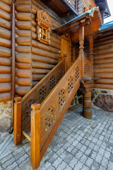Carved wooden porch.