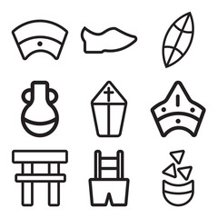 Set Of 9 simple editable icons such as Nachos, Trousers, Torii gate