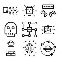 Set Of 9 simple editable icons such as Outer space, Fingerprint scan, Hologram