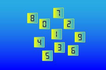 Children's set 1, 2, 3, 4, 5, 6, 7, 8, 9, 0. Vector