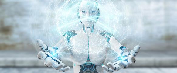 White woman humanoid using digital global network 3D rendering