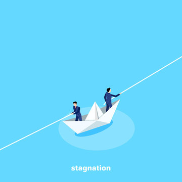 men in business suits on a paper boat pull ropes in different directions, an isometric image