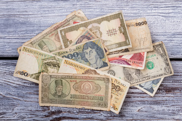 Currencies and money exchange trading concept. Old money from several different european countries.