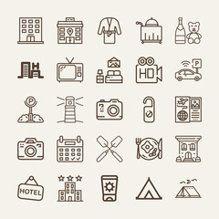 Set of 25 holidays outline icons