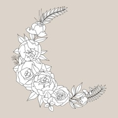 Illustration with peonies and roses. Hand drawing for the design