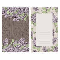 Background with lilac and wooden texture for design invitations
