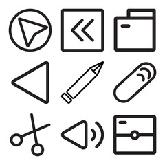 Set Of 9 simple editable icons such as Photo camera, Volume, Cut