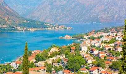 Panoramic aerial view of Kotor and Boka Kotorska bay, Montenegro