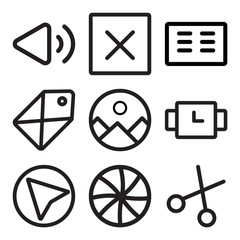 Set Of 9 simple editable icons such as Cut, Shutter, Cursor