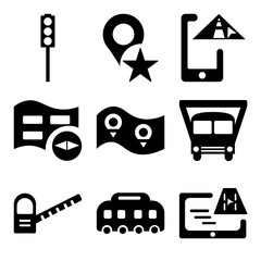 Set Of 9 simple editable icons such as Gps, Bus, Toll road
