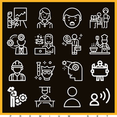 Set of 16 people outline icons