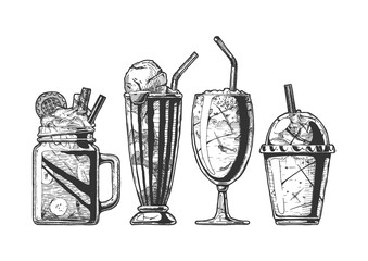 Set of different milkshake