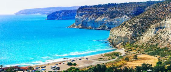 Cyprus island - beautiful impessive rocky beach Curium (Kourion)
