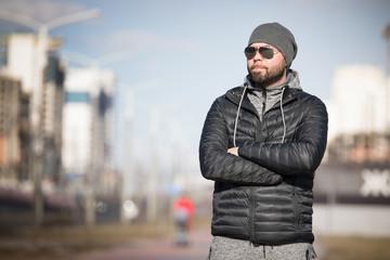 Portrait of man outdoor.