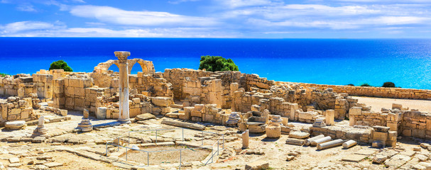 Poster Ruine Landmarks of Cyprus island - ancient Kourion archaeological site