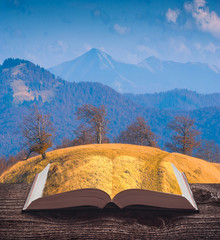 Mountain valley covered with grass on the pages of an open book
