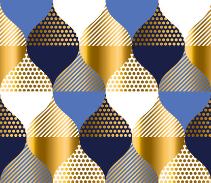 navy blue and gold luxury geometry pattern. seamless pattern vector illustration for background, fabric, wrapping paper. stock template design..