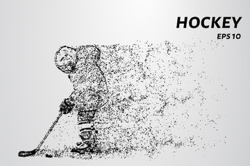 Hockey from the particles. Young hockey player in training.