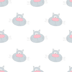 Seamless pattern with cute cartoon cat. Vector illustration.