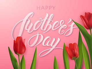 "Vector elegant greeting card with red realistic tulips and the text ""Happy Mother's Day"". 3D typography with a lettering cut out of paper on the pink background for holiday banners and flyers."