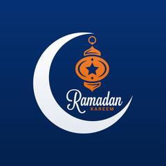 Ramadan Kareem Logo. Eid Mubarak On Blue Background