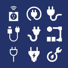 Set of 9 plug filled icons