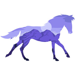 Double exposure horse. Landscape horse in double exposure. Vector artwork.