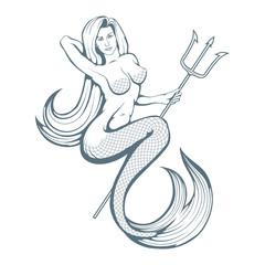 Mermaid on the waves. Hand painted mermaid. Vector artwork.