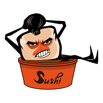 Cartoon sushi logo. Sushi lettering. Vector artwork.