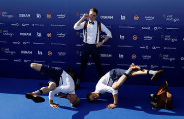 Contestant Mikolas Josef of Czech Republic poses on the blue carpet during the opening party for Eurovision Song Contest at the Maat museum in Lisbon