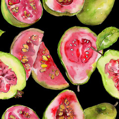 Exotic  guava  healthy food in a watercolor style pattern. Full name of the fruit:  guava . Aquarelle wild fruit for background, texture, wrapper pattern or menu.