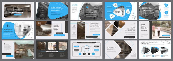 Black and blue marketing or banking concept infographics set