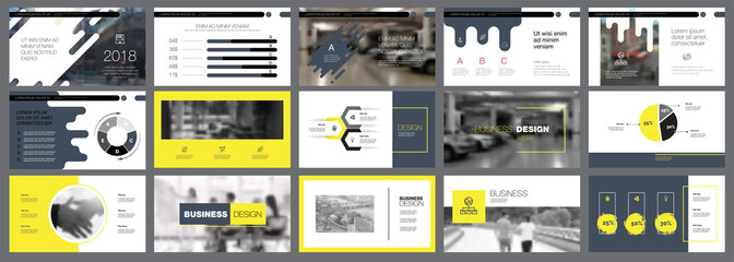 Grey, white and yellow infographic design elements