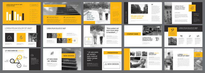 Grey, yellow and white infographic design elements