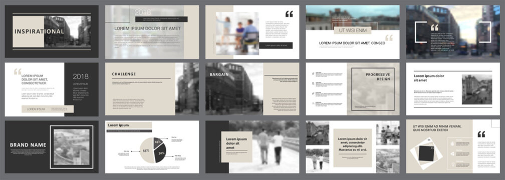 Grey and black consulting or planning concept infographics set