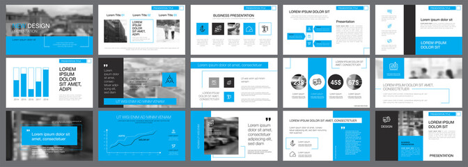 White, blue and black infographic design elements