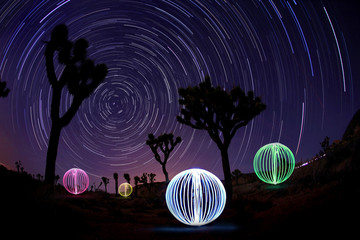 Time Lapse Star Trails With Light Painted Orb Balls