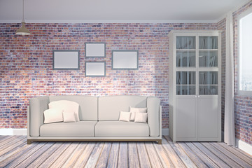 Brick living room with empty poster front