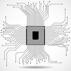 Cpu. Microprocessor. Microchip. Technology symbol. Vector illustration. Eps 10