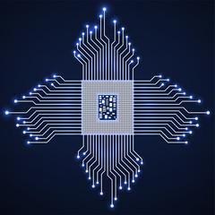Cpu. Microprocessor. Microchip. Neon technology symbol. Vector