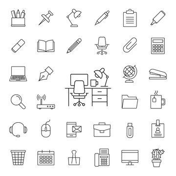 freelance working place line black vector icons set