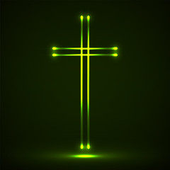 Glowing christian cross. Religious symbol christianity. Vector