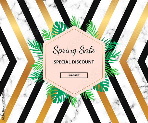 Modern Sale Banner With Luxury Geometric Lines Tropical