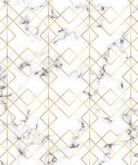 Modern minimalist white marble texture with gold geometric lines, rhombus and triangles pattern. Background for design banner, card, flyer, invitation, party, birthday, wedding, placard, magazine
