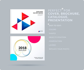 Triangular design presentation template with colourful triangles shadows. Abstract vector set of modern horizontal banners