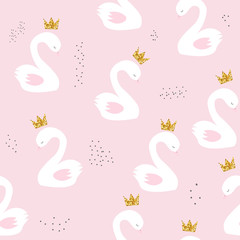 Swan princess with golden glitter crown seamless pattern. Cute childish print. Vector hand drawn illustration.